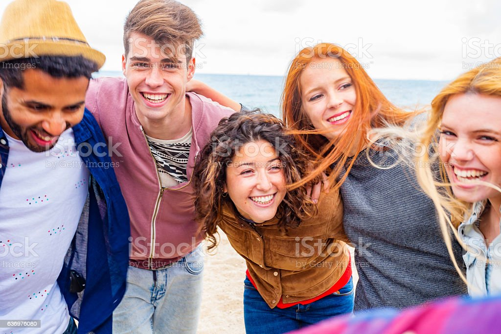 POV Selfie Of Young People Partying On A Beach Royalty Free Stock Photo