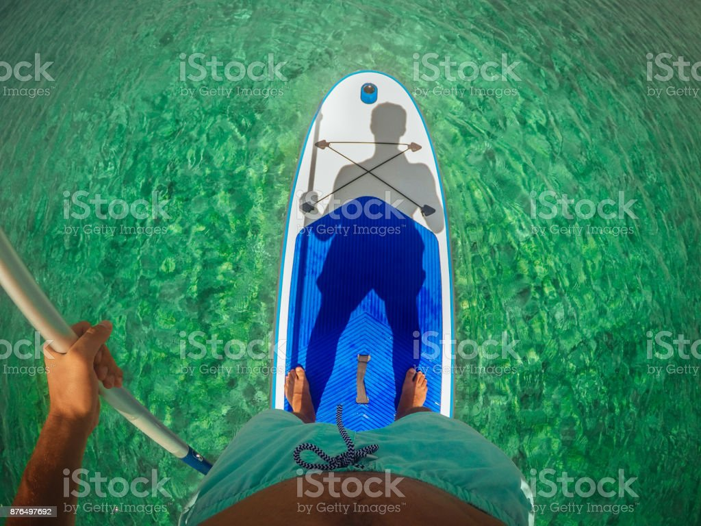 Selfie on a paddle board stock photo