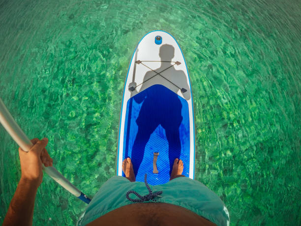 selfie on a paddle board - point of view stock photos and pictures