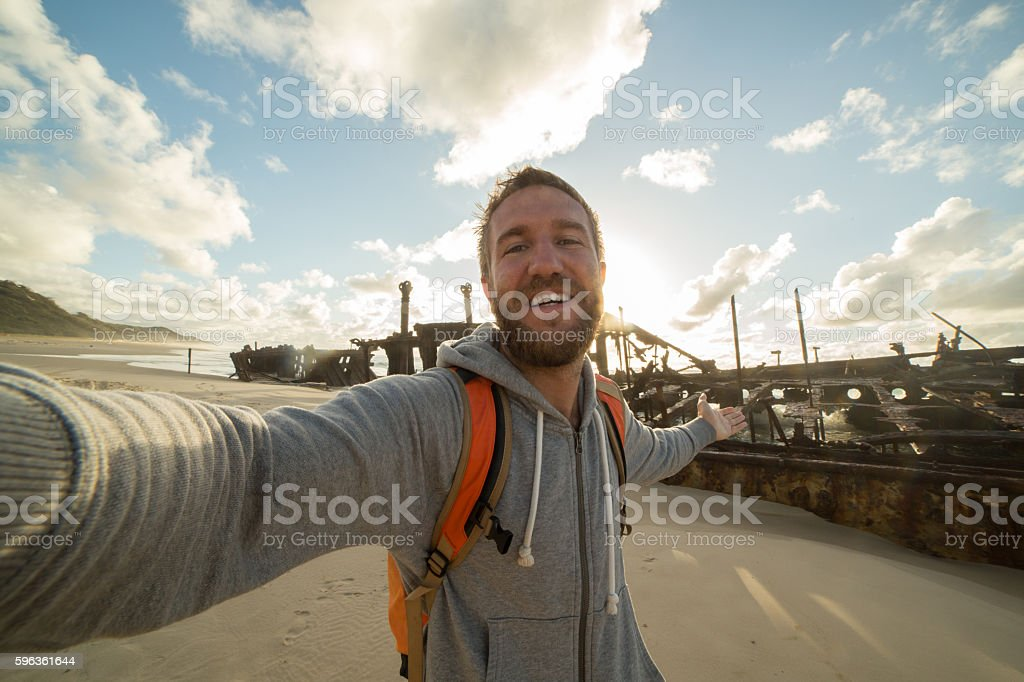 Selfie on Fraser Island royalty-free stock photo