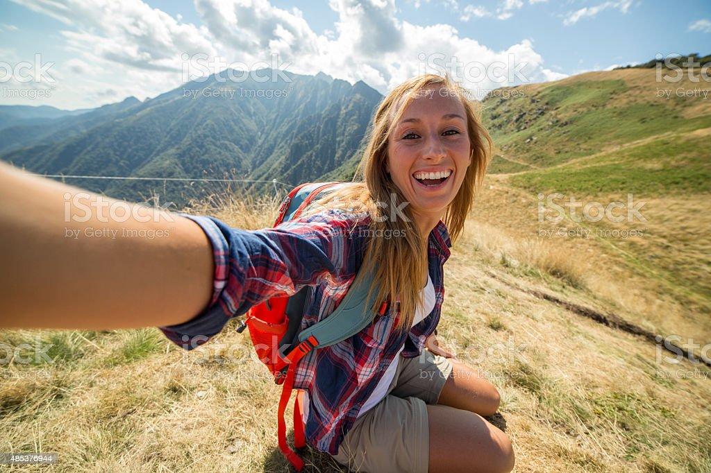Selfie on mountain top-Summer stock photo
