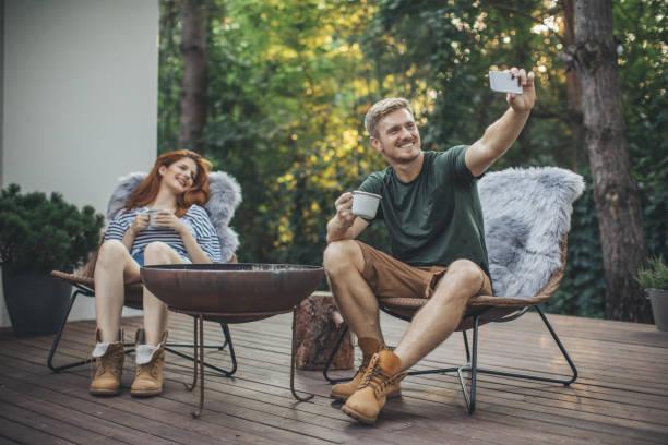 Selfie on porch stock photo