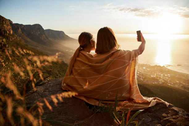 Selfie On The Mountain Top stock photo