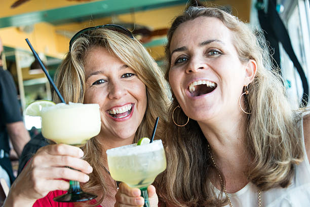 selfie - margarita drink stock photos and pictures