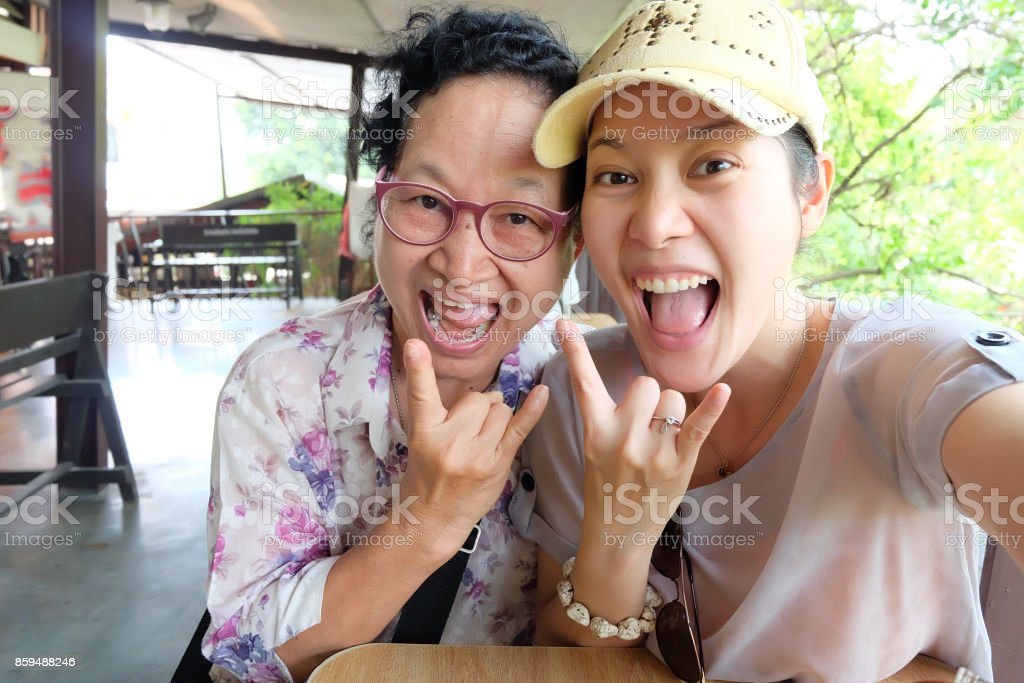 Selfie Senior woman with daughter stock photo