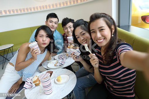 Selfie time. beautiful friends making selfie and smiling while resting in a cafe