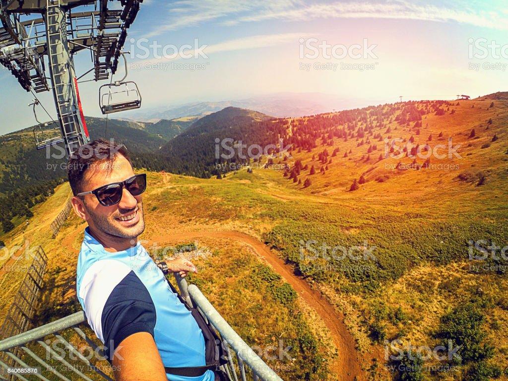 Selfie view on ski lift stock photo