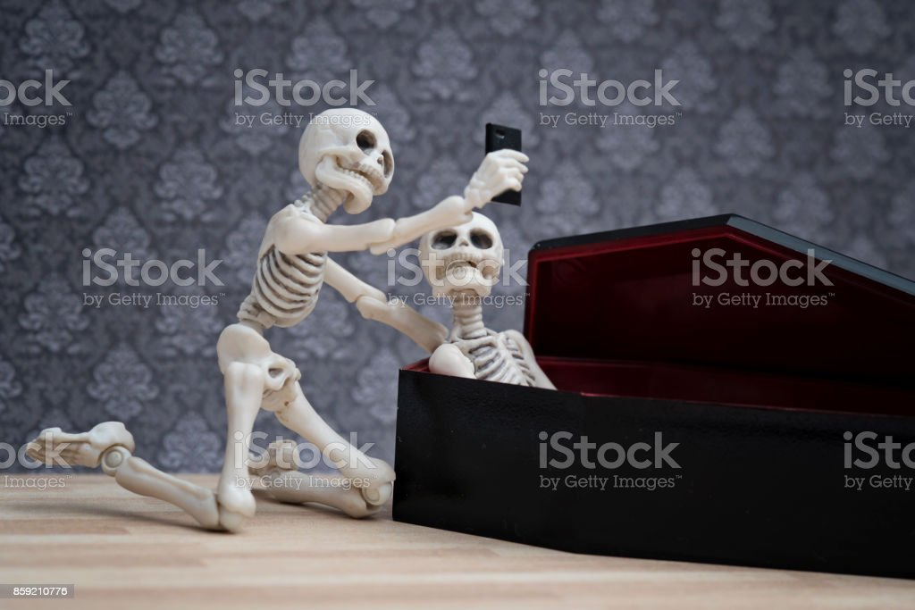 Selfie with a dead friend stock photo