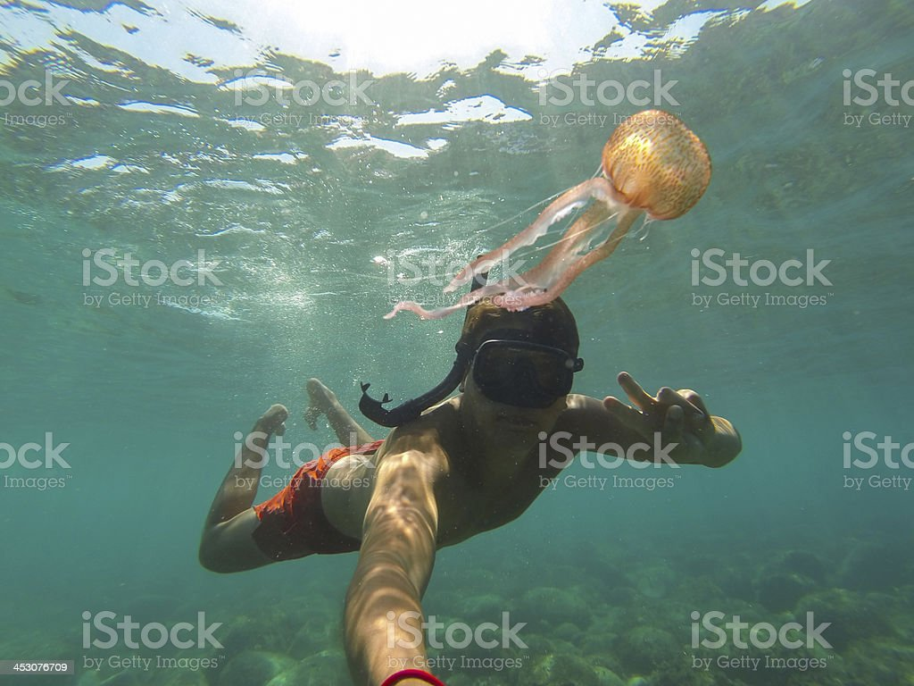 Selfie With A Jellyfish stock photo