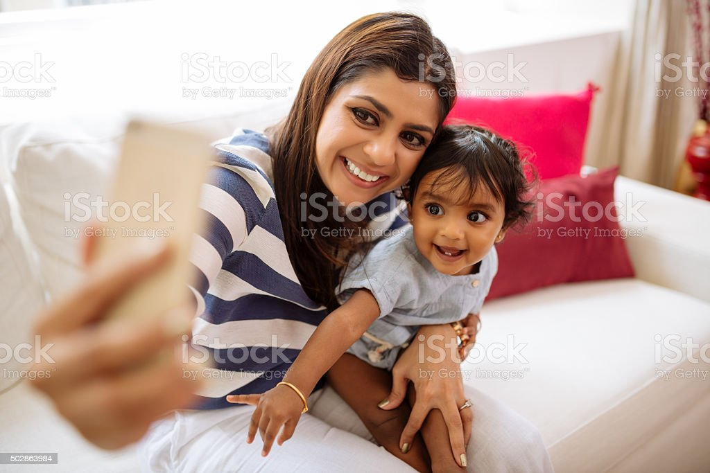 Selfie with daughter stock photo