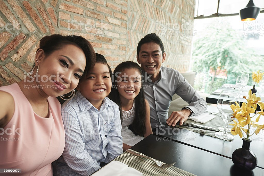 Selfie with family stock photo