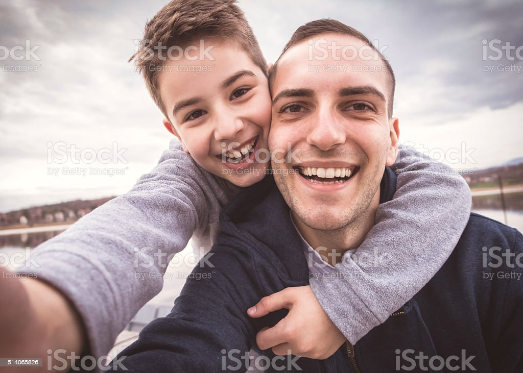 Selfie with father stock photo