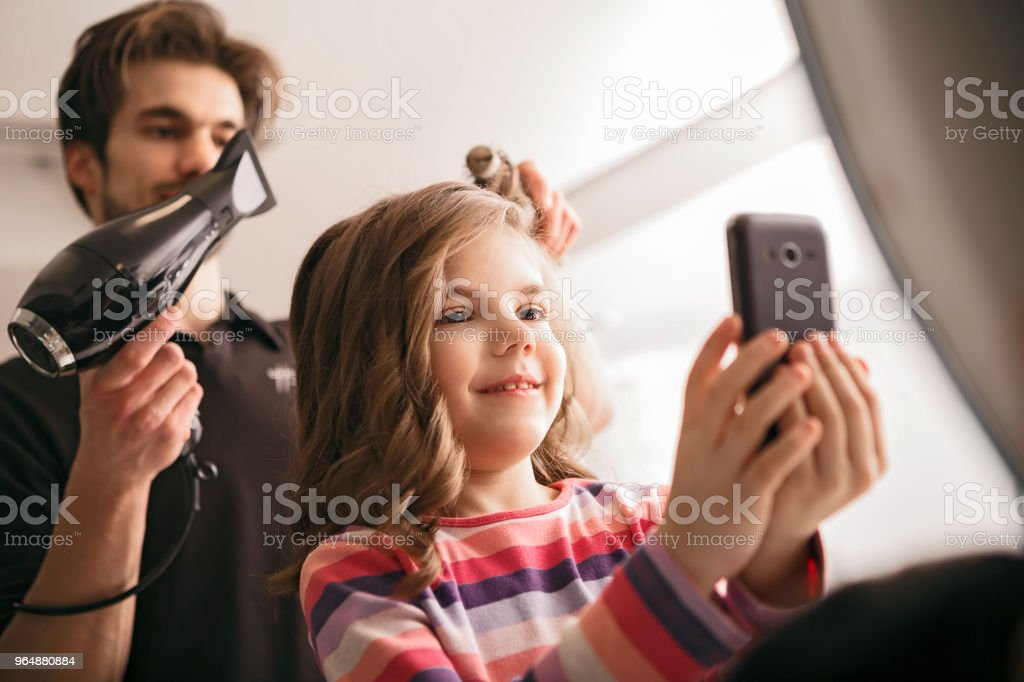 Selfie with hairdresser royalty-free stock photo