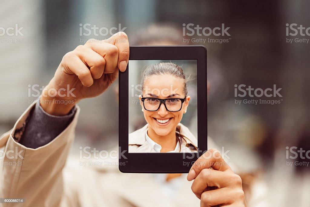 Selfie with tablet stock photo