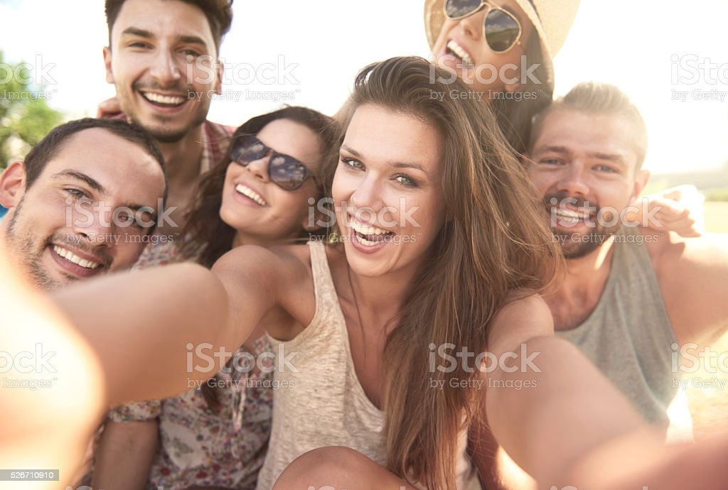 Selfie with the best friends stock photo