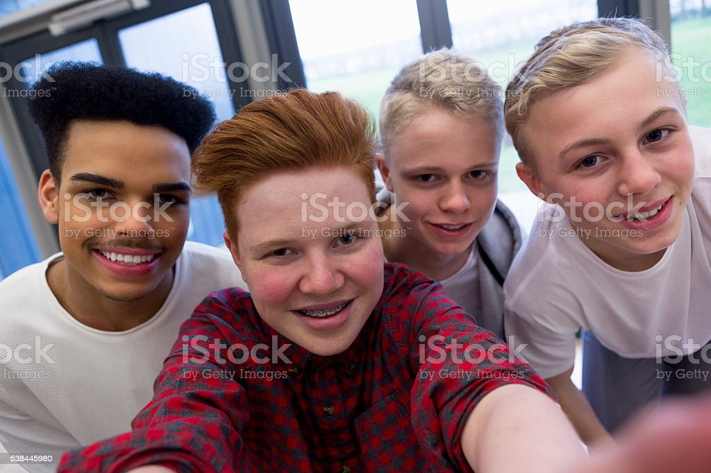 Selfie with the Lads stock photo