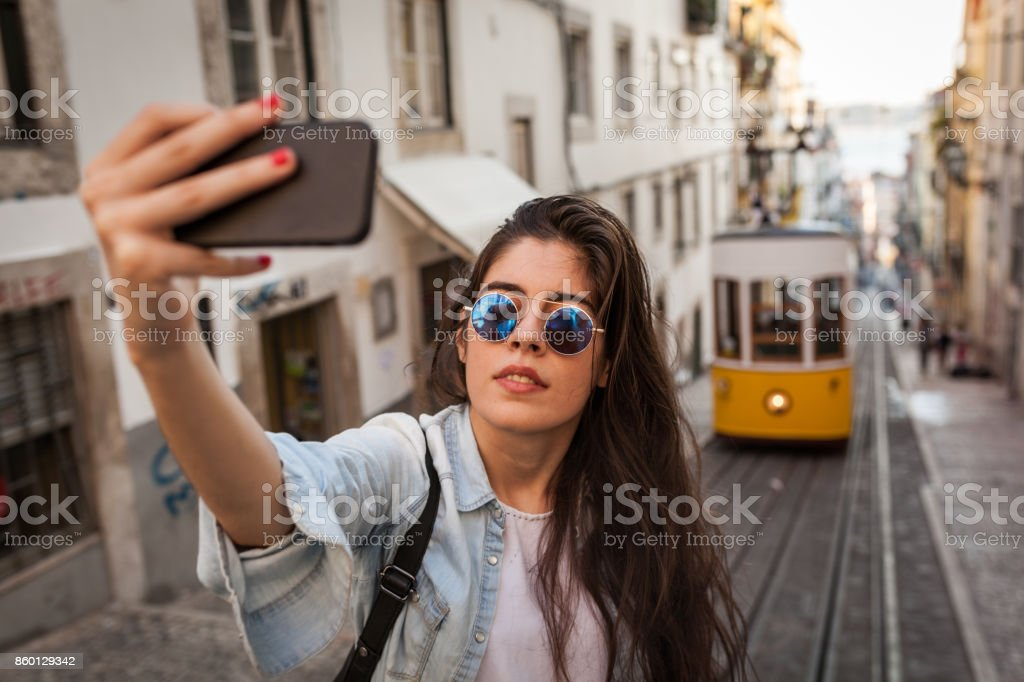 Selfie with The Old Tram in Lisbon