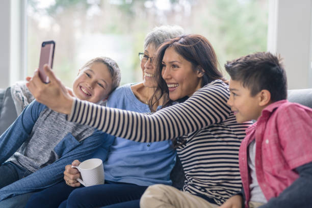 A selfie with three generations! stock photo