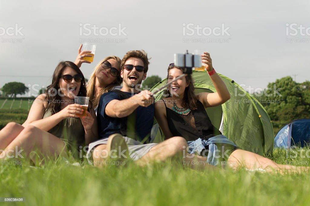 Selfies, beer and camping royalty-free stock photo