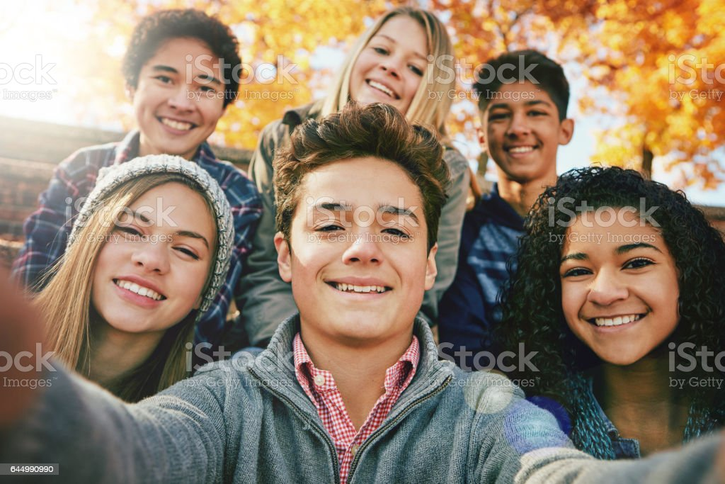 Selfies in the sunshine stock photo