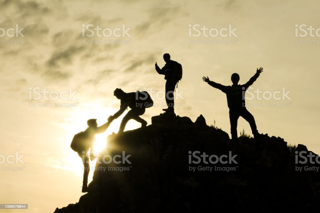 selfless, courageous and successful cooperation stock photo