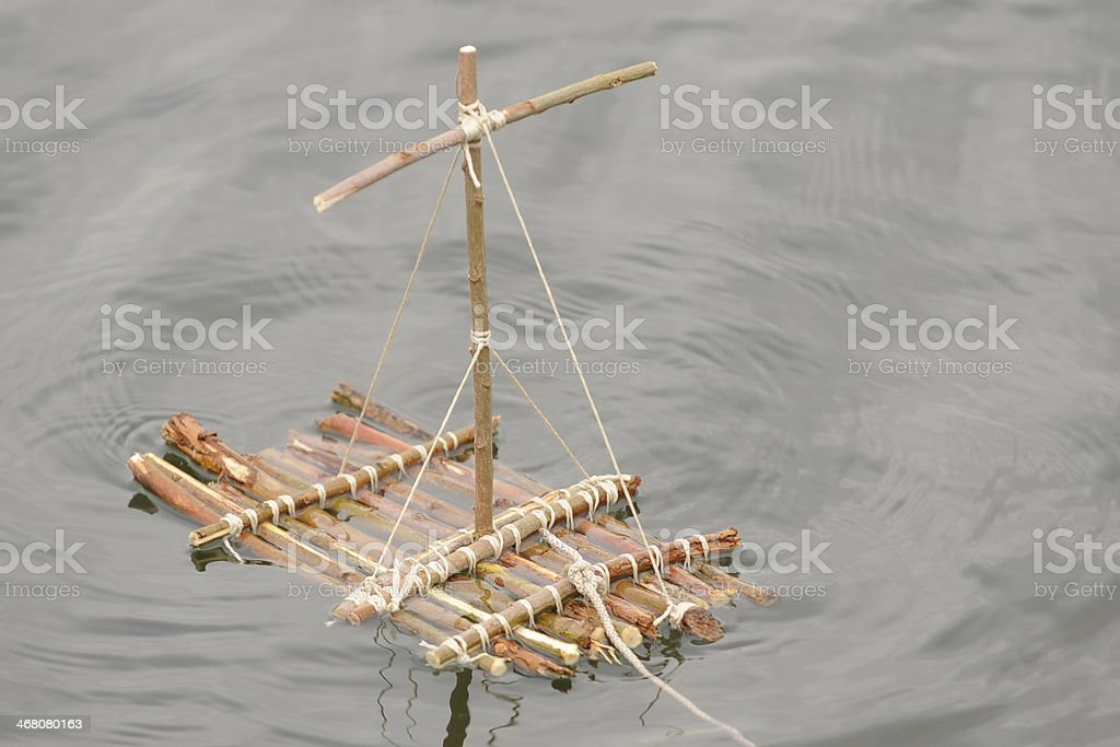 Selfmade wooden raft stock photo