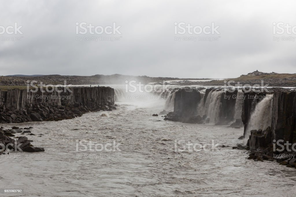 Selfoss, a waterfall on the river Jokulsa a Fjollum in the North of Iceland. stock photo