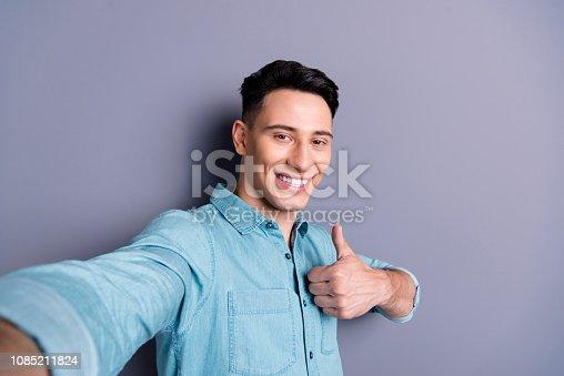 istock Self-portrait of nice cool cute cheerful optimistic positive att 1085211824