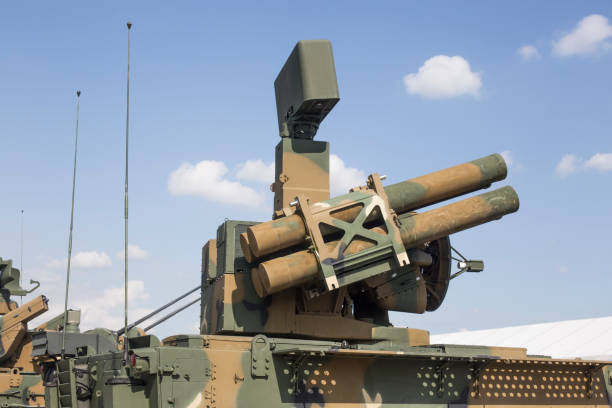 Self-propelled anti-aircraft missile system. Guided missiles Self-propelled anti-aircraft missile system. Guided missiles antiaircraft stock pictures, royalty-free photos & images