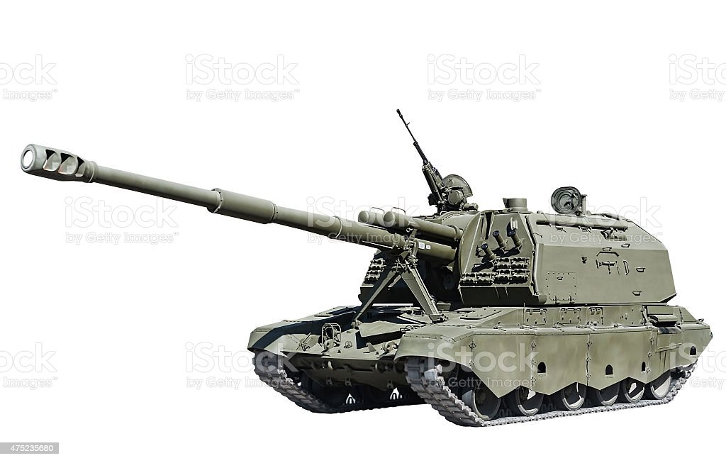 self-propelled artillery isolated on white background stock photo