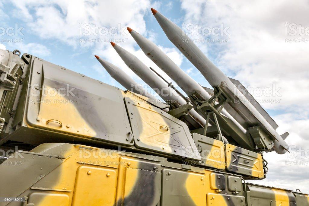 Self-propelled rocket launcher stock photo
