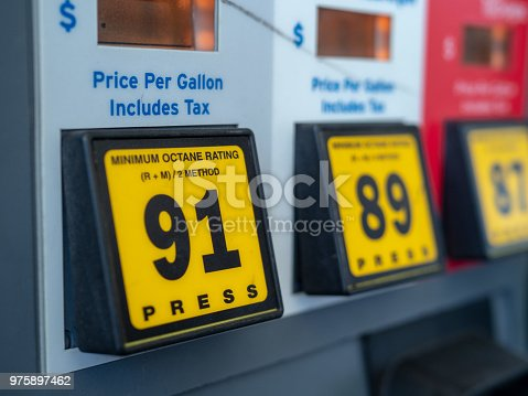 istock Self-serve gas station fuel options with 91 octane mainly featured 975897462