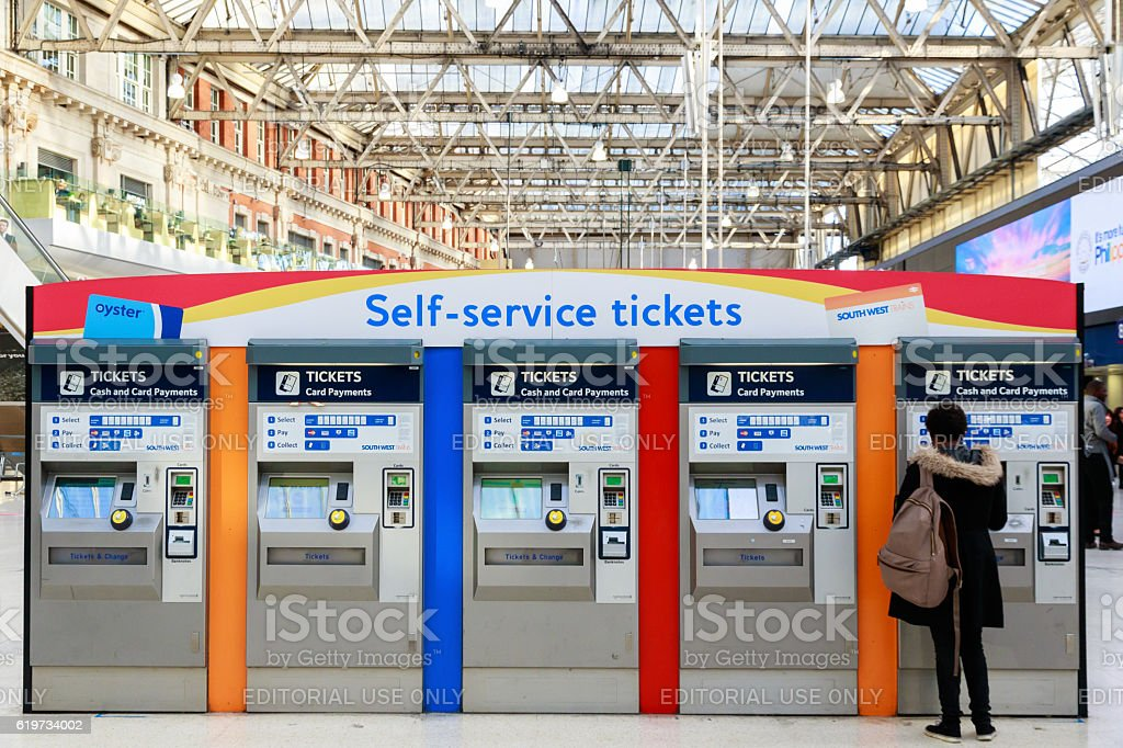 Self-service Tickets Machines at Waterloo Station stock photo