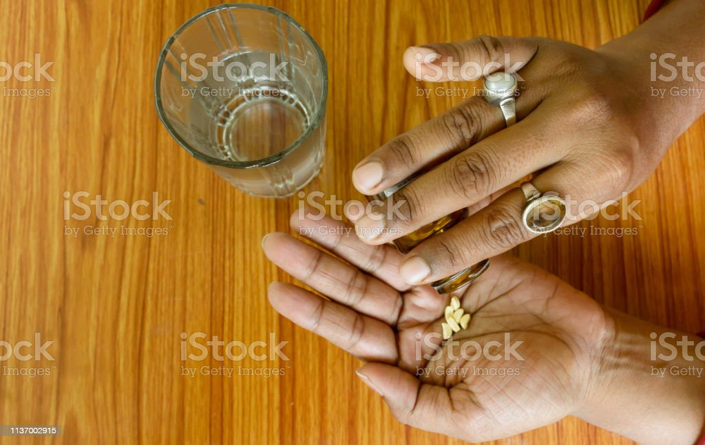 Self-treatment at home as per prescribed by doctor. royalty-free stock photo
