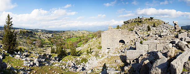 Selge  ancient city and amphitheater stock photo