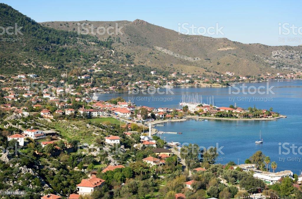 Selimiye Kıyı köy ve Selimiye Bozburun Yarımadası'nda Muğla İli Türkiye'de defne. stok fotoğrafı