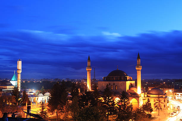 Selimiye Mosque and Mevlana Jalal ad-Din Rumi Konya's Selimiye Camii (built.1560s) and Mevlana Jalal ad-Din Muhammad Rumi's Tomb selimiye mosque night stock pictures, royalty-free photos & images