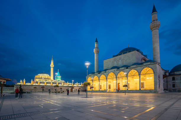Selimiye Mosque and Mevlana Museum in Konya, Turkey Selimiye Mosque and Mevlana Museum in Konya, Turkey. selimiye mosque night stock pictures, royalty-free photos & images