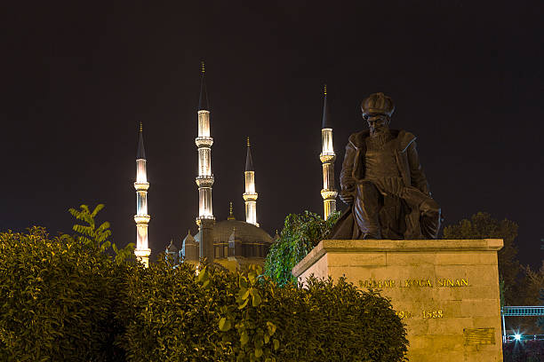 Selimiye Mosque and Mimar Sinan's statue Turkey, Edirne Selimiye Mosque and Mimar Sinan statue. Built in 1575 by Mimar Sinan is a UNESCO World Heritage Site Of The Selimiye Mosque. selimiye mosque night stock pictures, royalty-free photos & images
