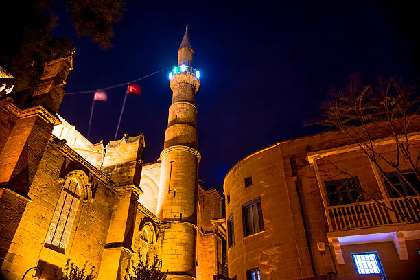 Selimiye Mosque at night. Nicosia, Cyprus Selimiye Mosque at night. Nicosia, Cyprus. selimiye mosque night stock pictures, royalty-free photos & images