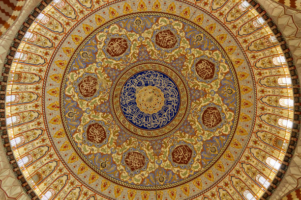 selimiye moschee kuppel decke innenansicht - selimiye moschee stock-fotos und bilder