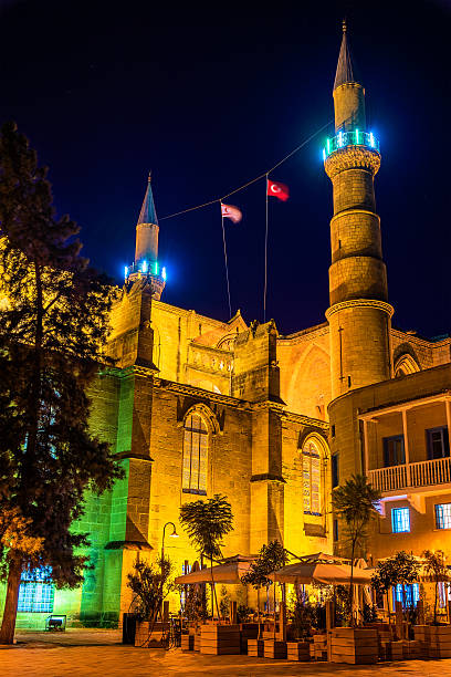 Selimiye Mosque in Nicosia - Northern Cyprus Selimiye Mosque in Nicosia - Northern Cyprus selimiye mosque night stock pictures, royalty-free photos & images
