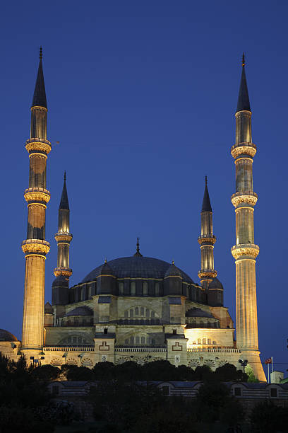 Selimiye Mosque Built by Architect Sinan in 1575. Edirne, Turkey. selimiye mosque night stock pictures, royalty-free photos & images