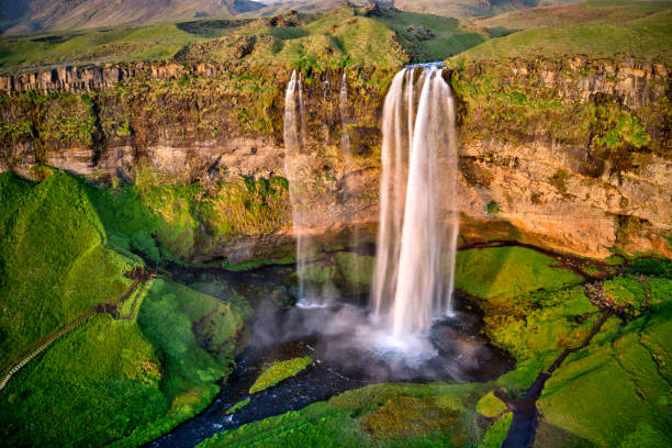 Seljalandfoss from aerial view, Iceland stock photo