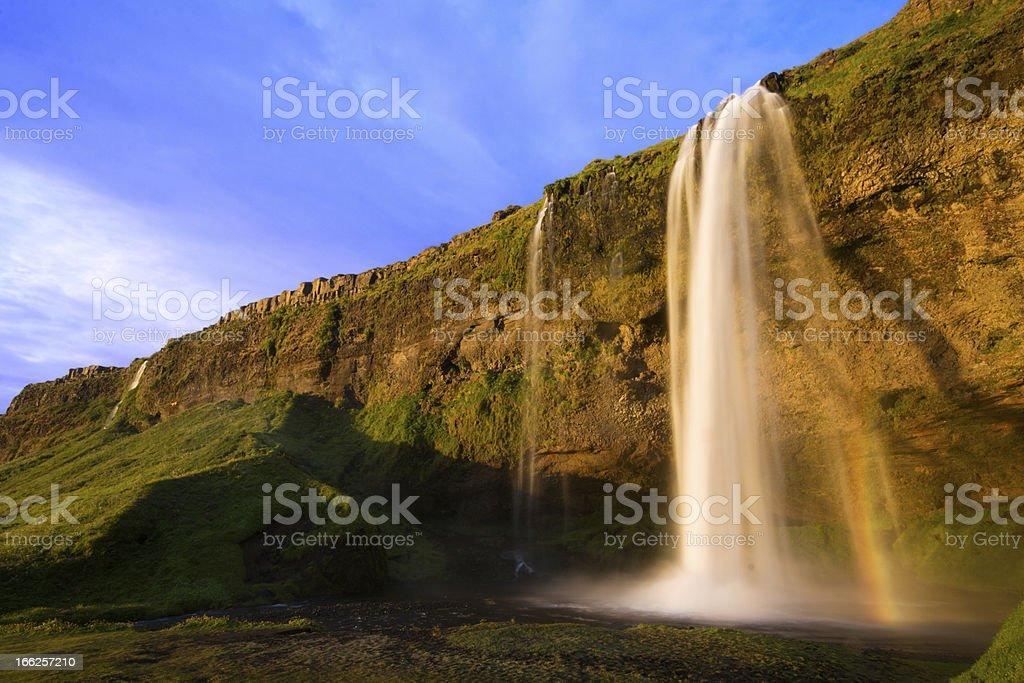 Seljalandfoss waterfall at sunset, Iceland royalty-free stock photo
