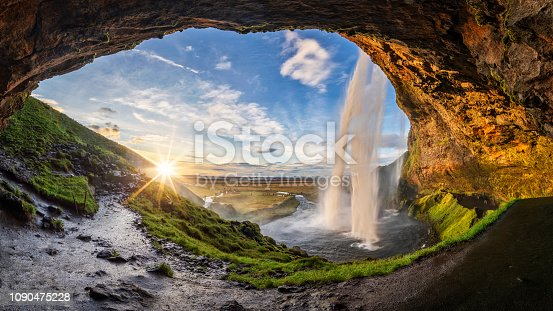istock Seljalandfoss waterfall in summer time at sunset,  Iceland 1090475228