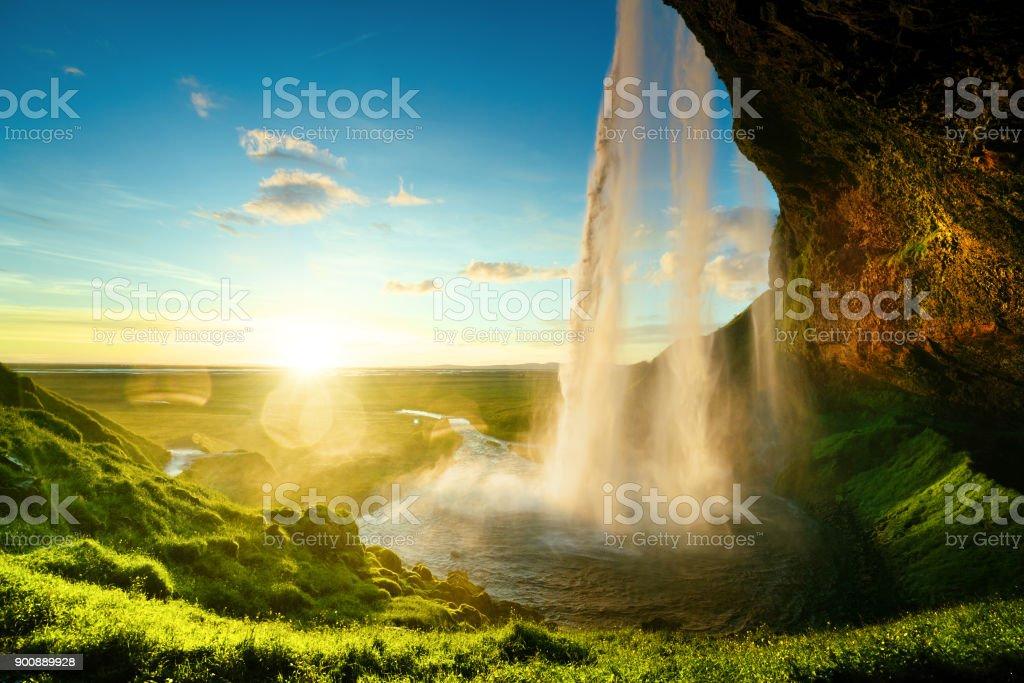 Seljalandfoss waterfall in summer time, Iceland stock photo