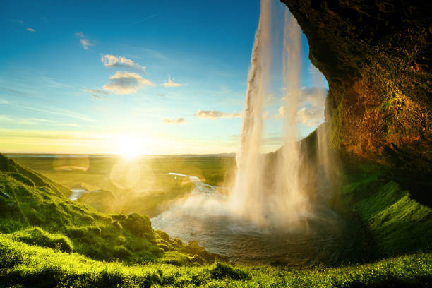 seljalandfoss waterfall in summer time, iceland - waterfall stock photos and pictures