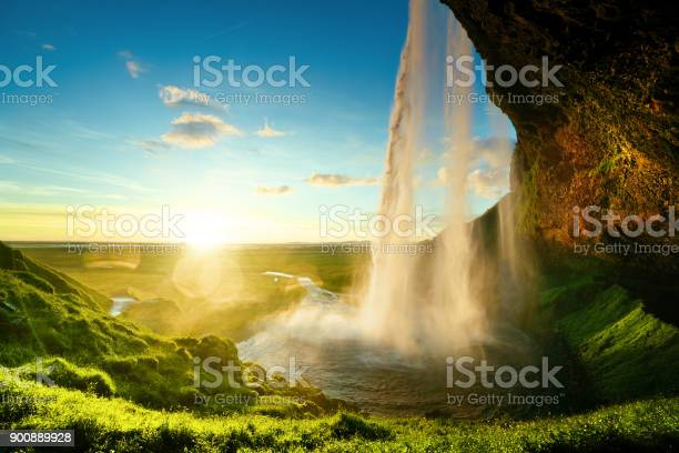 Photo of Seljalandfoss waterfall in summer time, Iceland
