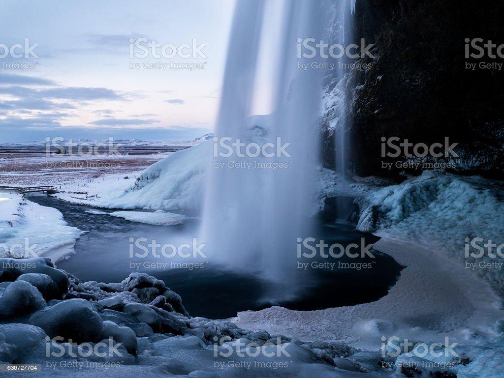 Seljalandfoss - Waterfall in the Winter of Iceland stock photo